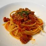 アルマーニ リストランテ銀座 - スパゲティローマ風トリッパの煮込み ミントのアクセント ◎  トリッパとミントの組み合わせがさわやかで合うのです