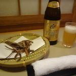 うなぎのきむら - ヱビスビールと骨せんべい