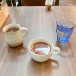 Nouminkafe - ランチセットのファーストドリンク、スープ、お水