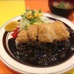 キッチンABC - 3番 力(ちから)カレー(お餅フライ•にんにくフライのパワーカレーです)(スープ付) ¥750