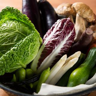 こだわりの有機野菜を使用したメニュー