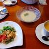 ブレドール - 料理写真:ダイスチーズのパテのサラダ、ヴィシソワーズ、カフェラテ