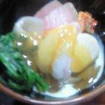 1562828 - 海老・帆立・鮪・菜の花・里芋の酢味噌掛け