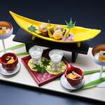 石和名湯館 糸柳 - 料理写真:ダイナミックな演出の前菜をお楽しみください。