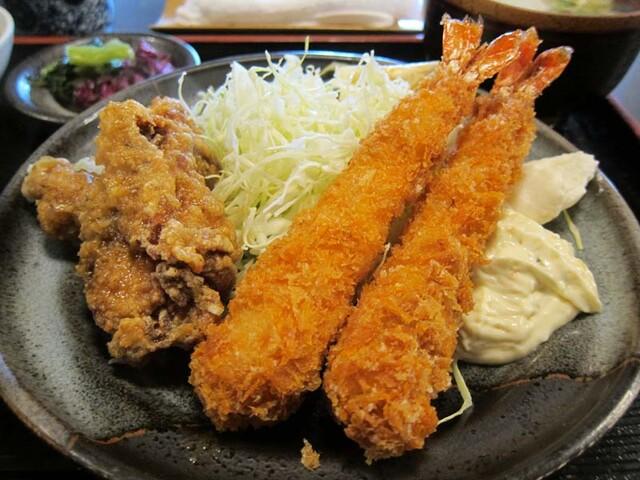 酒・肴 おまた - 海老・鶏唐揚げ定食