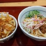なか卯 - 料理写真:かき揚げ丼(小)と彩り野菜の冷やし担々うどん