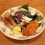 肴や味泉 - 雲丹、ぼたん海老、〆鯖 (2012/11)