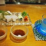 錦 - 鱧の焼霜 & 冷酒