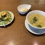 CHINA TABLE 花木蘭 - セットのサラダ、スープ、ザーサイ