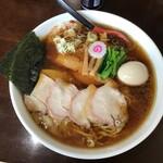 156334211 - 焼豚ワンタン麺味玉入り大盛、生姜入り総額1400円(2021.7.15)