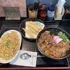 麺ますや  - 料理写真:炒飯定食 うどん大盛 ばら すじ ごぼう天トッピング