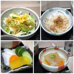 串匠 - ◆サラダ・・ドレッシングの味わいがいいですね。 ◆もやしナムルに肉味噌がかけられているのですが、この肉味噌美味しい。 ◆大根と鶏肉の煮物・・優しい味わい。 ◆香の物