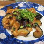 菊正宗おみき茶屋 - そしてメインは秋が旬の茄子の味噌焼、豚肉との相性もばっちり、旨かったぁ・・・