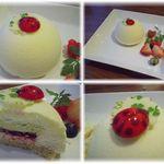 Pa'tissier La Coccinelle - ピスタチオクリームとフランボワーズジャムをホワイトチョコで包みました♡とゆうケーキww