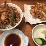 蔵前いせや - 天ぷら天丼セットA(海老・鱚・茄子)・小エビと貝柱かき揚げ・メゴチ追加