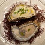 レストラン オオツ - 2021.8 地物岩牡蠣 新玉葱のババロア 牡蠣クリームとレモンオイルor柑橘類のジュレ