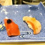 たつみ寿司 - ④マグロの漬け大蒜醤油⑤金目鯛