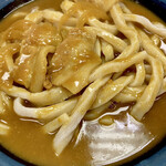 いづみや - ゴツゴツしたエッジの効いた極太うどん、見た目は名古屋の「味噌煮込みうどん」に酷似しています。