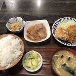 味安 - 肉生姜焼きと唐揚ヒレカツセット(930円)