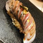 sushikoshikawa - 鯵です。薬味は生姜と青唐辛子の醤油漬け