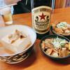 いづみや - 料理写真:いづみや名代もつ煮込み 170円×2、肉豆腐 250円、サッポロラガー  大瓶 550円×2