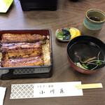 小川藤 - 料理写真:うな重、竹。ご飯大盛り。3300円+100円。お新香と肝吸いが付いてます。