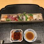 いしづか - ランチ青龍12500円。右から、鯛昆布締め、あおりいか、平目、鯛、シメサバ、ヒラマサ、鰹叩き、ホタテ炙り。品数豊富で楽しいですね♩ とても美味しかったです(╹◡╹)
