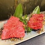 名古屋 焼肉きらく - 本日の特選お肉は ハラミとランプ タレ要らずな味付きだった