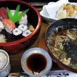 治作 - ランチ寿司そばセットに揚げシューマイ。寿司ネタがその日によって変わります。このセットお奨め。
