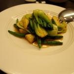 中国菜房豪也 - 本日のおすすめ中国野菜(金針菜、チンゲンサイ、マコモ茸 XO醤炒め)