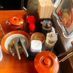 豚そば 成 - 卓上調味料 時計回りで上から 高菜、胡麻、辣油、拉麺ダシ、 餃子醤油、ブラックペッパー、紅生姜 ふりかけ、にんにく