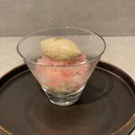 ダイニングソシアル - チーズケーキと桃のグラニテ。アールグレイのジェラートが最高に美味しい⸜( ´ ꒳ ` )⸝♡︎