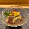 ひらまつ - 料理写真:先付け 鰹の叩き酢橘酢