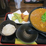 極楽うどん Ah-麺 - 冷やしラズマカレーうどん 〆ミニご飯付き+八代おくらの天ぷら+鶏天