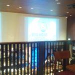 大衆ビストロブルーノ - 2階席から、壁のモニターを眺める