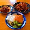 十年そば - 料理写真:川海老の佃煮、揚げ蕎麦、漬け物