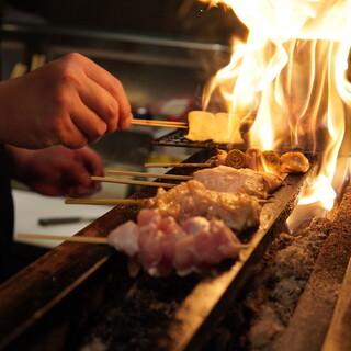 淡路鶏を使用した焼鳥!備長炭でじっくり丁寧に焼き上げます