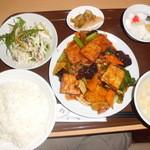 八海楼 東日暮里店 - 揚げ豆腐の四川風炒め「680円」+定食「20円」
