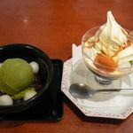 麻布茶房 - 抹茶アイスクリームぜんざい、抹茶ババロアサンデー