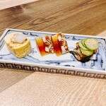 にょろ助 - うなぎ珍味盛り 3点 1320円 鰻巻、鰻の煮凍り、鰻ざく