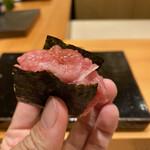 Sushi matsuura - マグロの脳天とネギ いきなりパンチのある品からスタート!でもあっさりなんです!何より海苔が旨すぎる〜