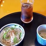 五右衛門 - 料理写真:ミニサラダ、スープ、アイスウーロン茶