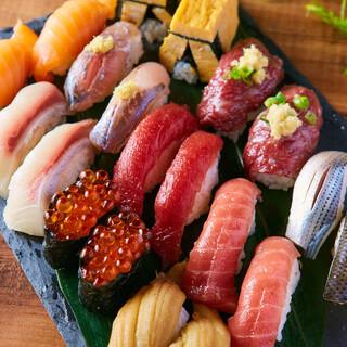食べ飲み放題!雲丹・いくら・大トロ含む最大23種類の寿司ほか