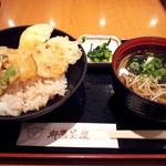 御鷹茶屋 - 《初訪問》野菜天丼ミニ蕎麦付き(800円)