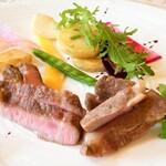 アンソレイエ - ガリシア栗豚のポワレ 朝摘み野菜のクリュ ロランのタプナード
