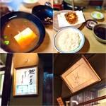 てん茂 -  ◎豆腐となめこの赤だし(三つ葉入り)、◎かき揚げ(小柱、小エビ)香のもの