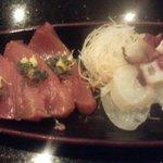 与五郎寿司 - 刺身(初鰹、タコ)