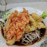 柳屋 - 冷やし天ぷらそば(シーフードミック+桜えび)