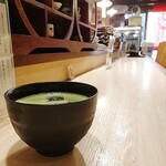 北浜あなごや 日本酒とワイン - 冷たいお抹茶と、カウンター