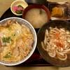 さくら亭 - 料理写真:親子丼とハーフうどん。味噌汁は要らん様な…